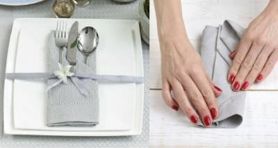 Как красиво сложить салфетку из ткани в карман для столовых приборов? Пошаговое фото + видео