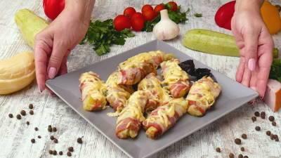 Закуска из кабачков: кабачки в беконе.